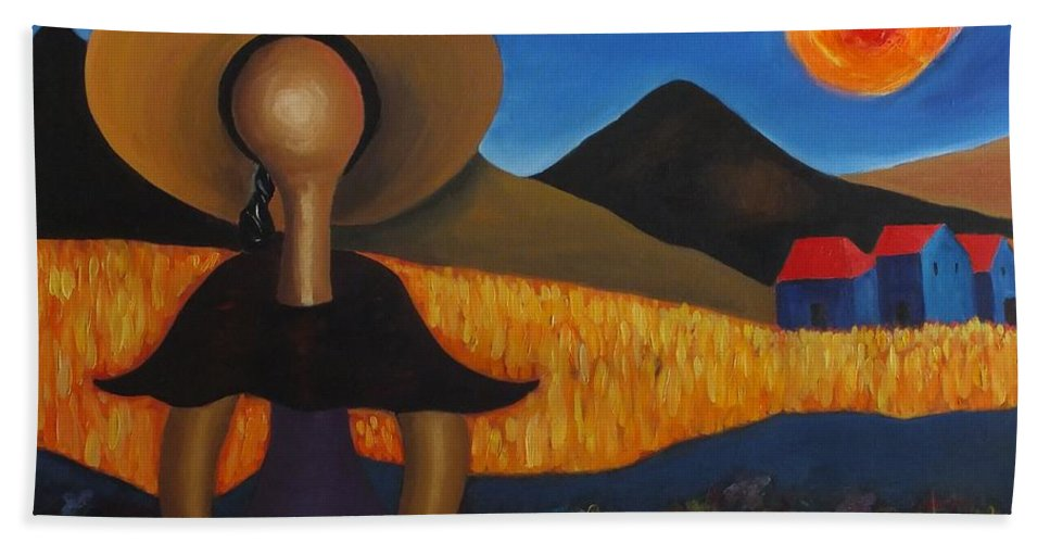 Landscape Hand Towel featuring the painting Faceless Doll by Marino Chanlatte