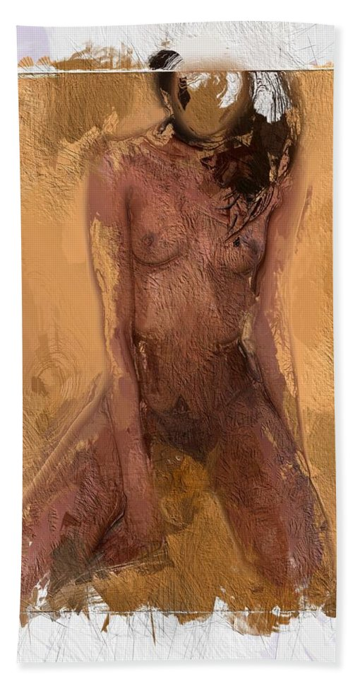 Female Girl Woman Nude Boobs Tits Erotic Black Colored Sexy Beauty African Hand Towel featuring the painting Faceless Girl by Steve K