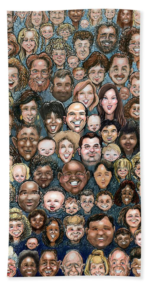 Face Bath Sheet featuring the digital art Faces Of Humanity by Kevin Middleton