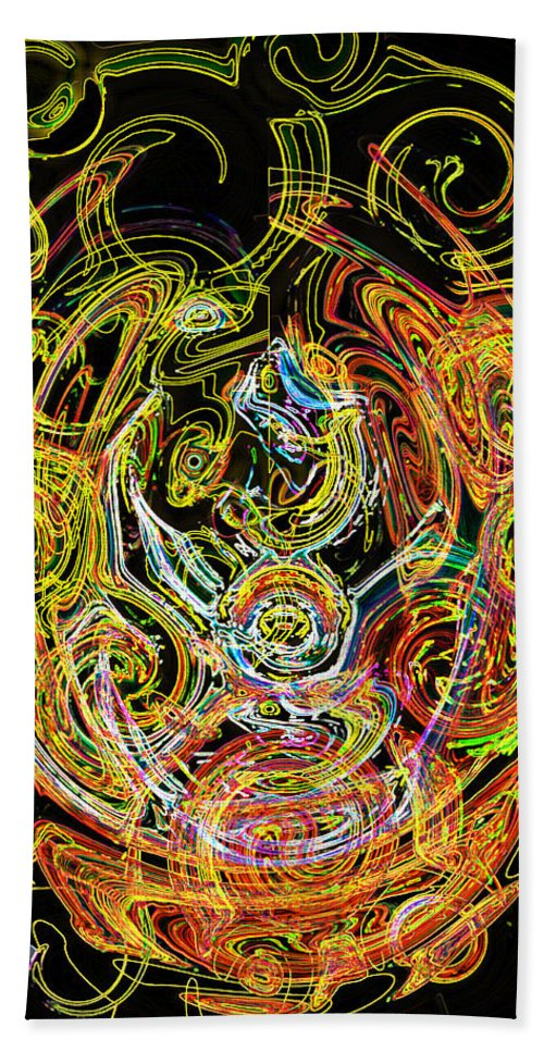 Gold Neon Abstract Faces Art Digital Rainbow Glowing Edges Circles Pink Bath Towel featuring the digital art Faces Of Life by Andrea Lawrence