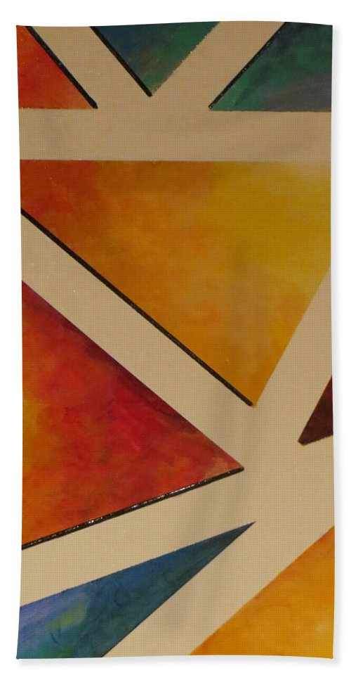 Abstract Bath Sheet featuring the painting Facets 4 by Soraya Silvestri