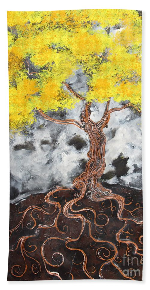 Landscape Hand Towel featuring the painting Facing Reality by Stefan Duncan