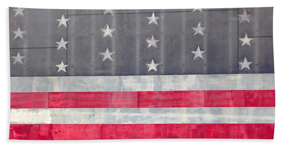 American Flag Hand Towel featuring the photograph Faded Glory by Art Block Collections