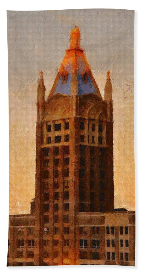 Architecture Hand Towel featuring the painting Fading Slowly Into Night by Jeffrey Kolker