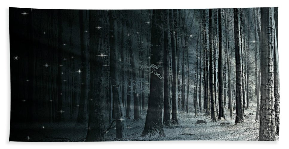 Flora Hand Towel featuring the mixed media Fairy Forest by Heike Hultsch