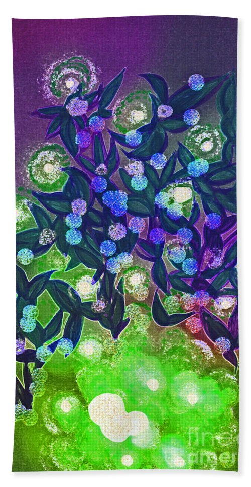 First Star Art Hand Towel featuring the mixed media Fairy Light Garden Green By Jrr by First Star Art