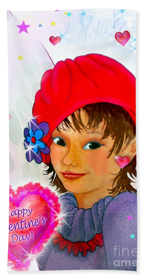Fairy Hand Towel featuring the painting Fairy Valentine by Teresa Ascone