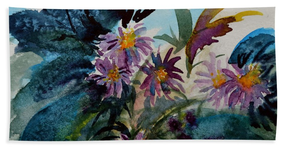 Aster Hand Towel featuring the painting Fairyland Asters by Beverley Harper Tinsley