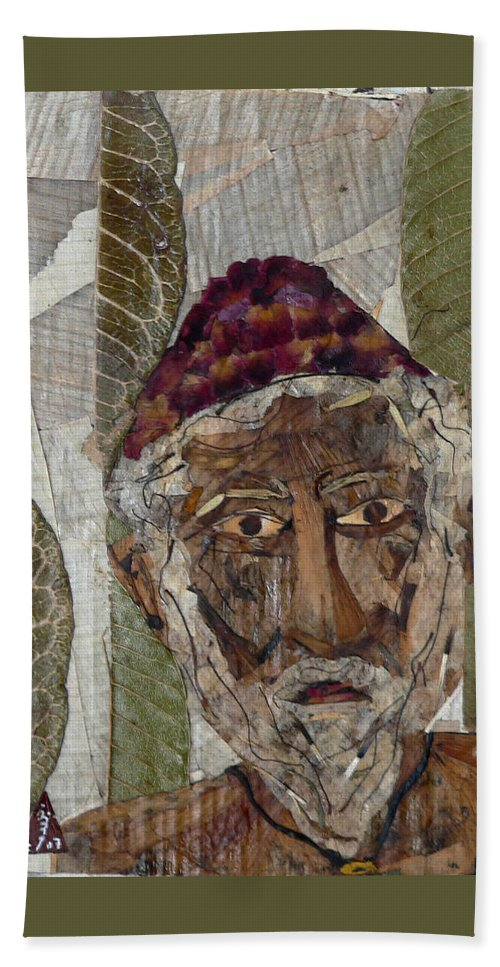 Portrait.holy Person Portrait Bath Sheet featuring the mixed media Fakeer by basant Soni