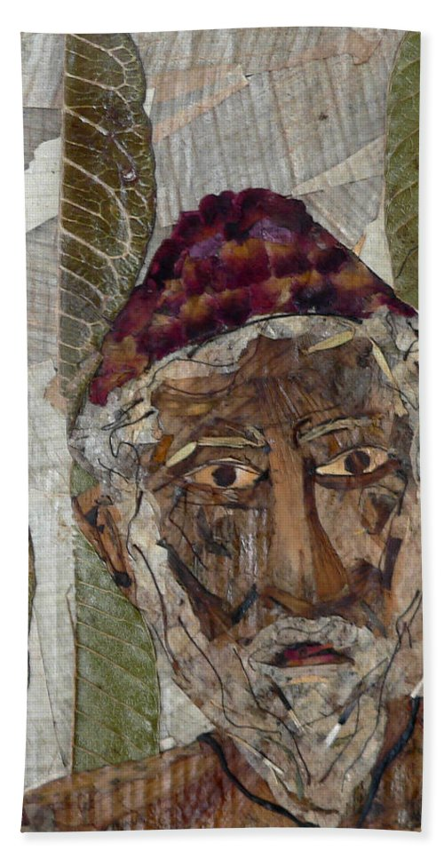 Portrait.holy Person Portrait Bath Towel featuring the mixed media Fakeer by basant Soni