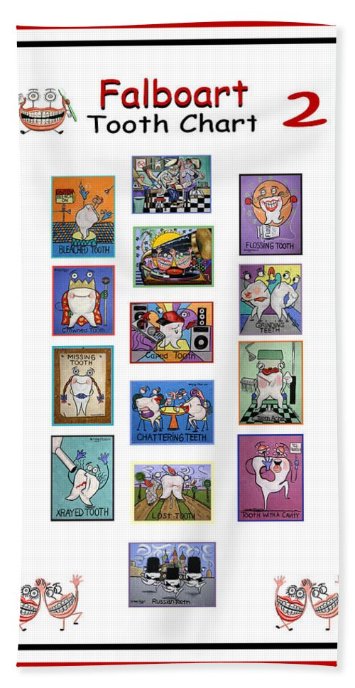 Falboart Tooth Chart Hand Towel featuring the painting Falboart Tooth Chart Number 2 by Anthony Falbo