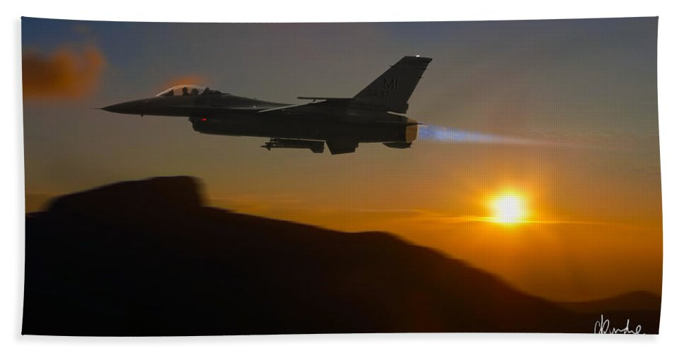 F 16 Bath Sheet featuring the photograph Falcon And The Sunset by Craig Purdie