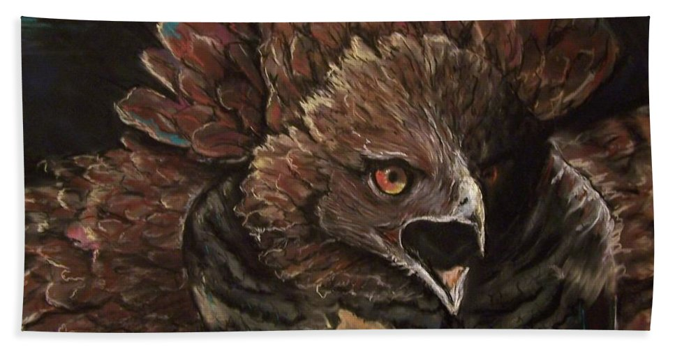 Pastel Hand Towel featuring the pastel Falcon Opera by Peter Suhocke