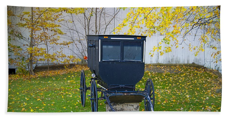 Amish Bath Sheet featuring the photograph Fall Buggy 2014 by David Arment