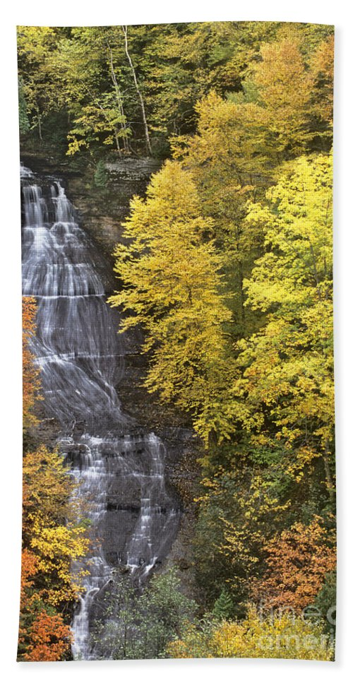 Michigan Bath Sheet featuring the photograph Fall Color Surrounds Chapel Falls On The Michigan Upper Peninsula by Dave Welling