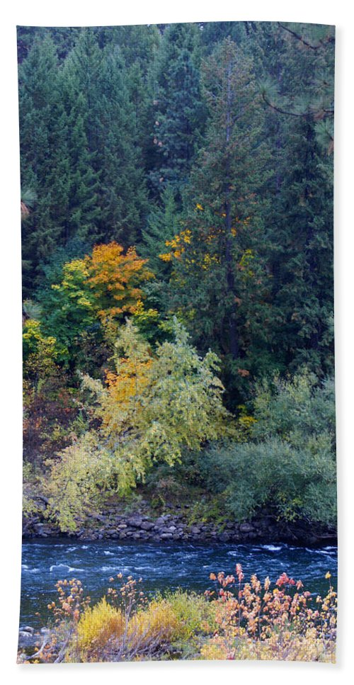 Fall Colors Bath Sheet featuring the photograph Fall Colors By The Spokane River by Ben Upham III