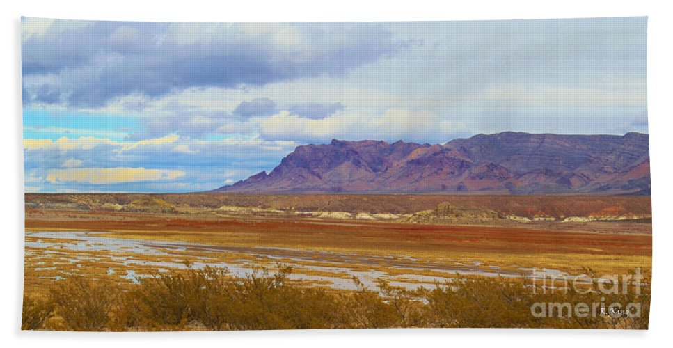 Roena King Hand Towel featuring the photograph Fall Colors In The Lake Bed by Roena King