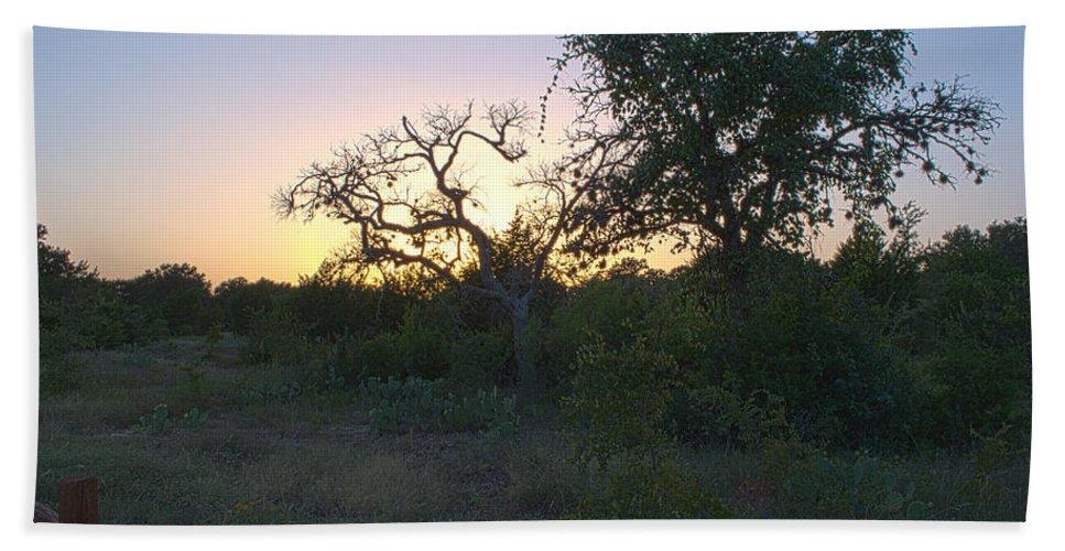 Cedar Park Hand Towel featuring the photograph Cedar Park Texas Fall Creek Sunset by JG Thompson