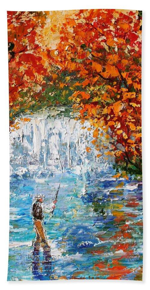 Fishing Hand Towel featuring the painting Fall Fishing by Karen Tarlton