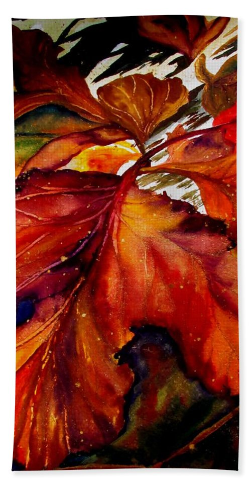 Autumn Bath Sheet featuring the painting Autumn Dressage by Lil Taylor