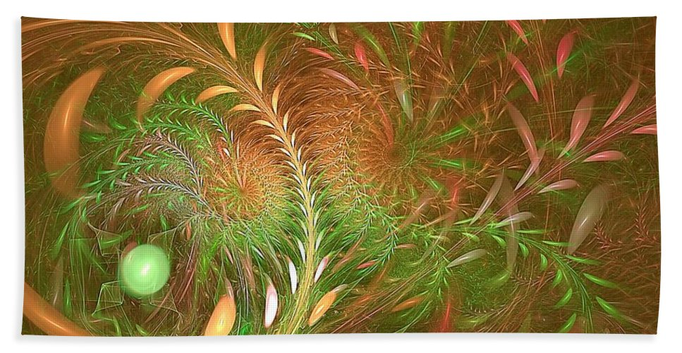 Hand Towel featuring the digital art Fall Fractal Fields by Doug Morgan