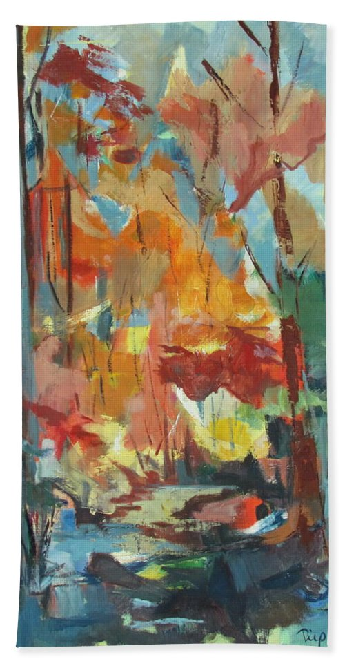 Autumn Leaves Hand Towel featuring the painting Fall From My Window by Betty Pieper