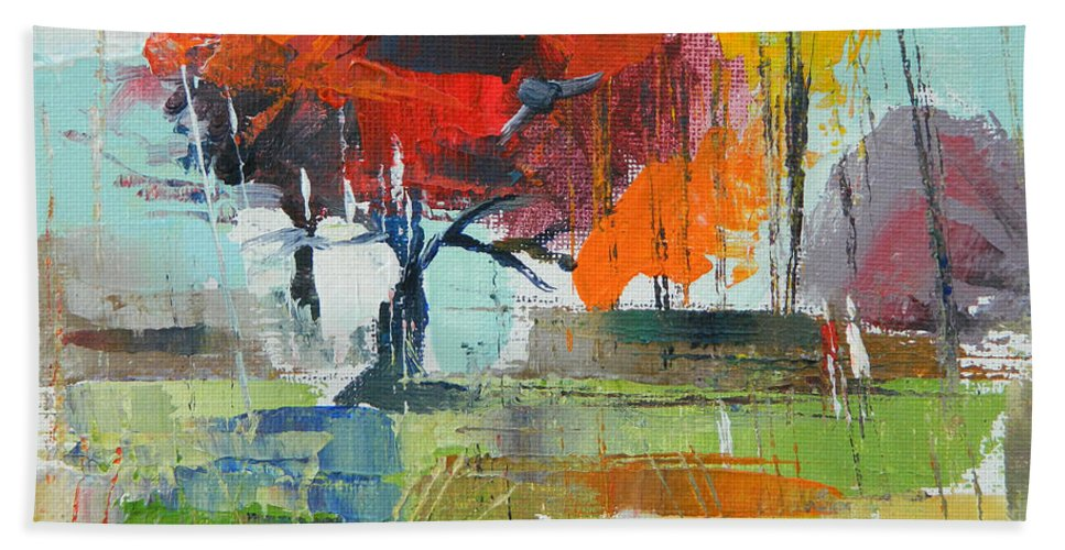Landscape Hand Towel featuring the painting Fall In Sharonwood Park 2 by Said Oladejo-lawal