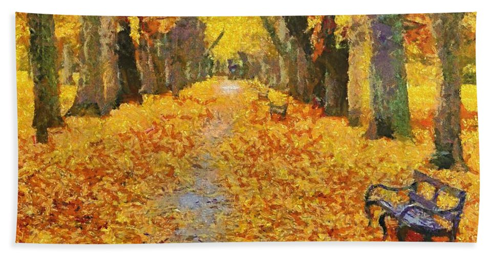 Autumn Hand Towel featuring the painting Fall In The Park by Dragica Micki Fortuna