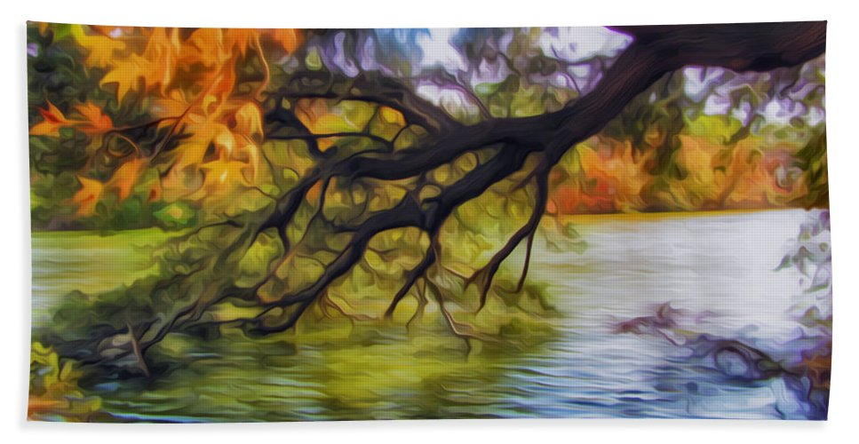 Down To Earth Hand Towel featuring the painting Fall Landscape 4 by Jeelan Clark