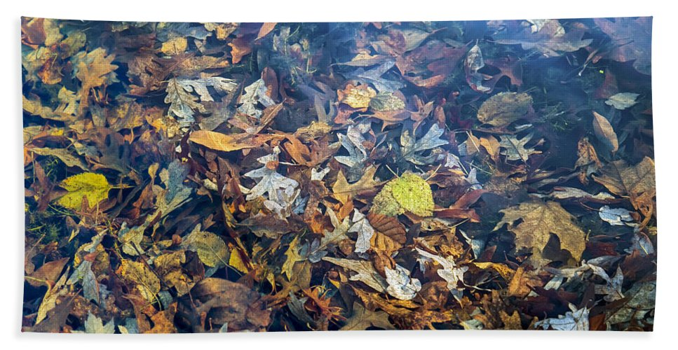 2d Hand Towel featuring the photograph Fall Leaves In A Pond by Brian Wallace