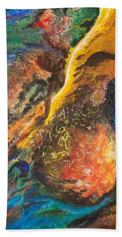 Lightning Bath Towel featuring the painting Fall Like Lightning by Karen Renee