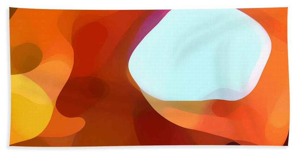 Abstract Hand Towel featuring the painting Fall Passage by Amy Vangsgard