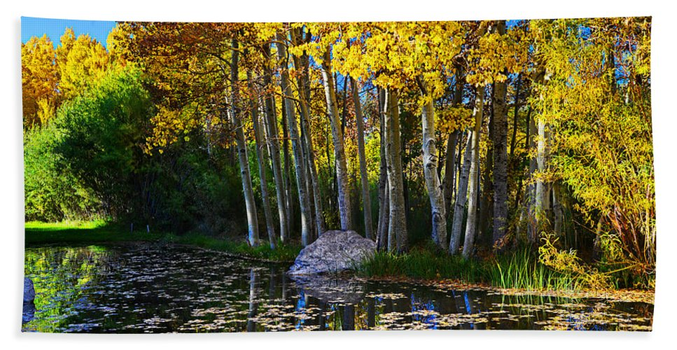 Aspen Bath Sheet featuring the photograph Fall Pond In Mammoth by Lynn Bauer