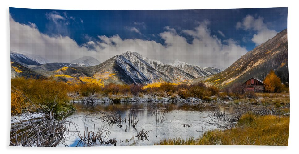 Nature Bath Sheet featuring the photograph Fall Reflection Pond by Steven Reed