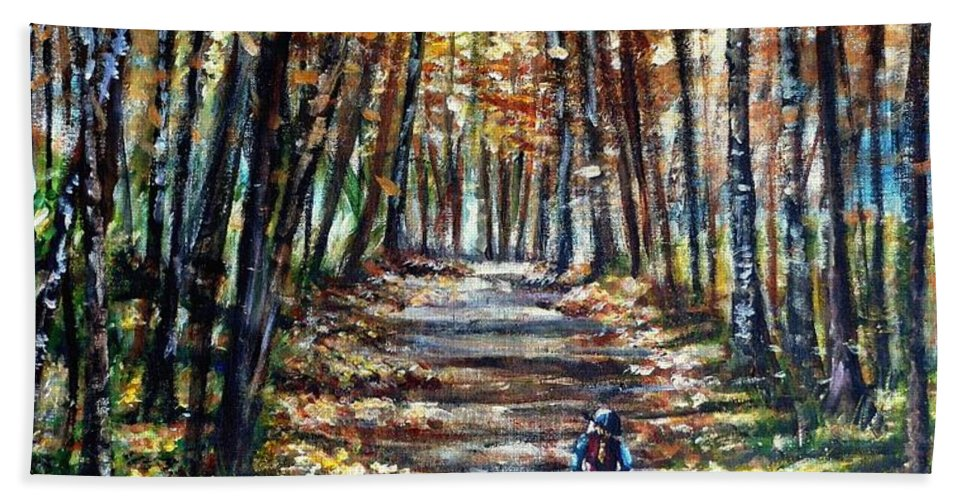 Horse Hand Towel featuring the painting Fall Ride by Shana Rowe Jackson