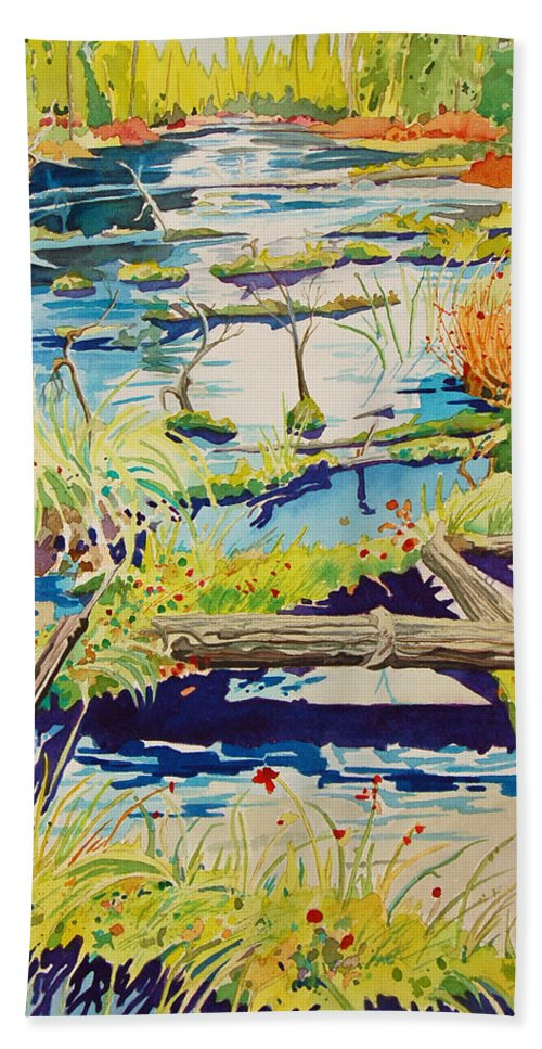 River Hand Towel featuring the painting Fall River Scene by Terry Holliday