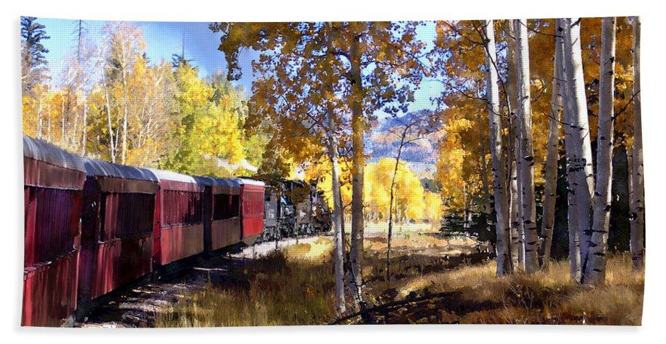 Chama Bath Sheet featuring the photograph Fall Train Ride New Mexico by Kurt Van Wagner
