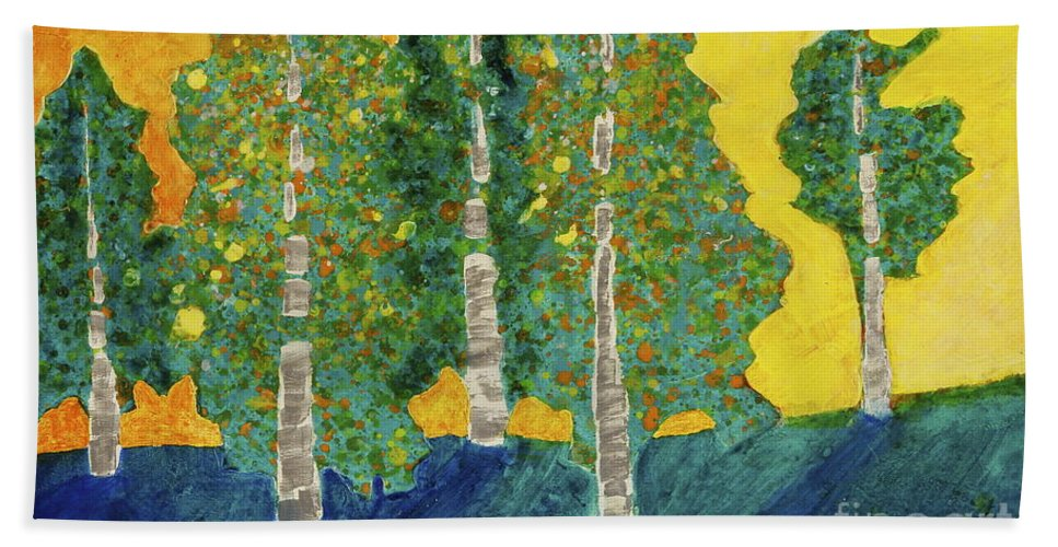 Tree Paintings Hand Towel featuring the painting Fall Turn At Sunset by Marta Tollerup