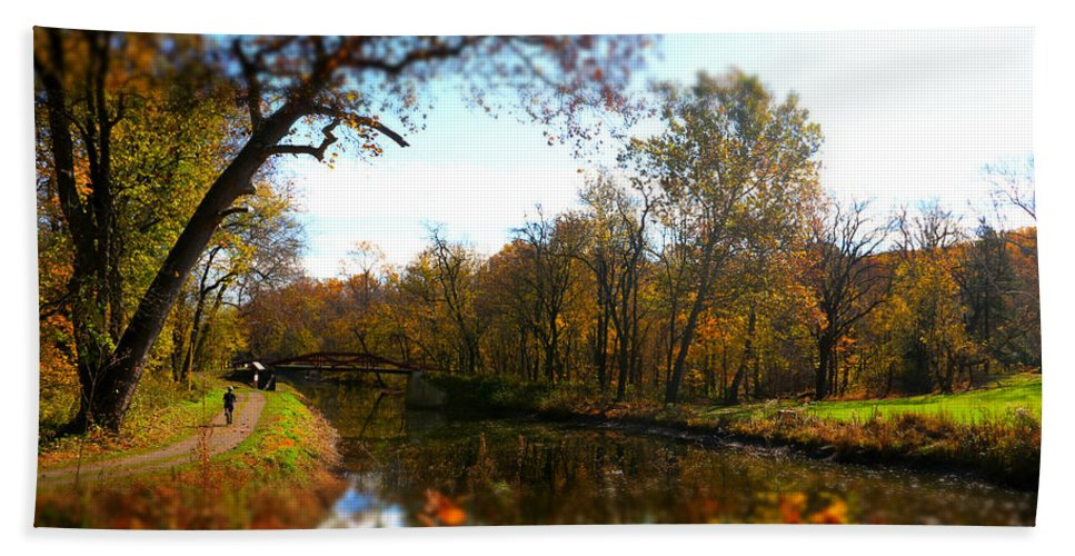 Fall Hand Towel featuring the photograph Fall Water Reflections by Alice Gipson