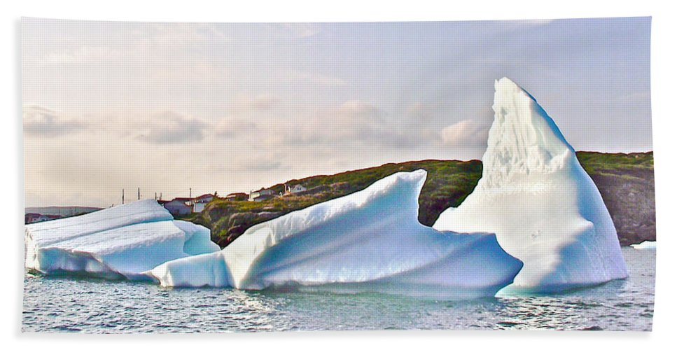 Fallen Clouds Icebergs In Saint Anthony Bay Hand Towel featuring the photograph Fallen Clouds Icebergs In Saint Anthony Bay-newfoundland-canada by Ruth Hager