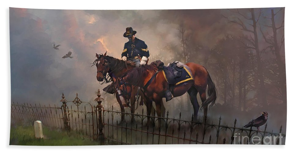 Wall Art Hand Towel featuring the painting Fallen Comrade by Rob Corsetti
