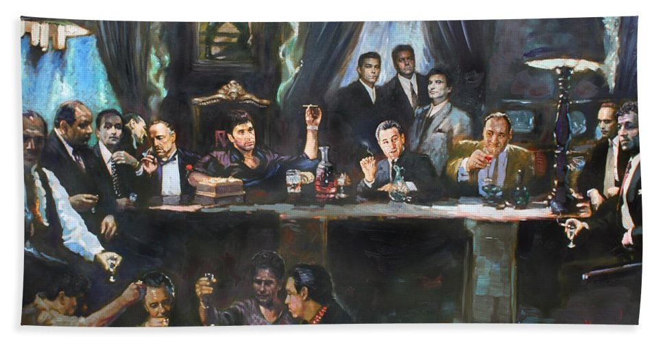 Gangsters Bath Towel featuring the painting Fallen Last Supper Bad Guys by Ylli Haruni