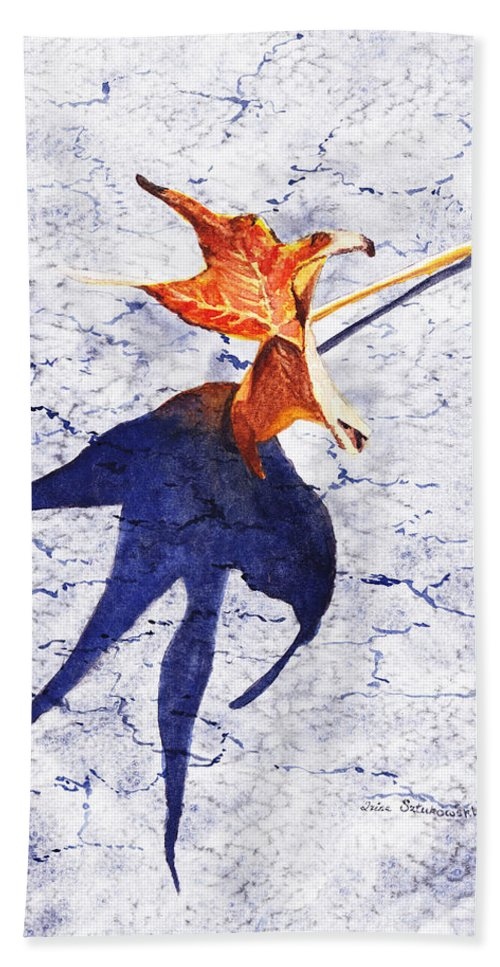 Fall Hand Towel featuring the painting Fallen Leaf King Size Shadow by Irina Sztukowski