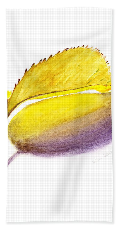Autumn Hand Towel featuring the painting Fallen Leaf Yellow Shadows by Irina Sztukowski
