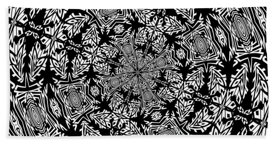 Black Bath Sheet featuring the digital art Fallen Leaves Black And White Kaleidoscope by Taiche Acrylic Art
