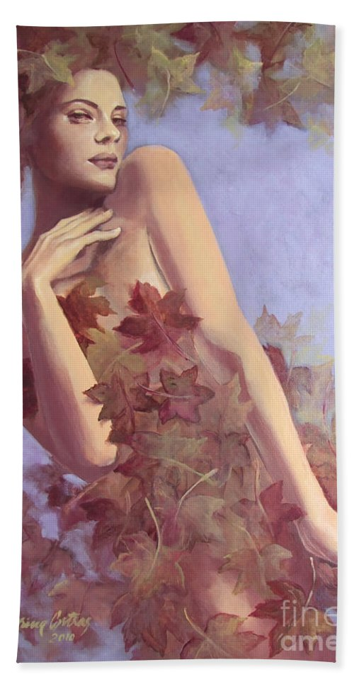 Painting Bath Sheet featuring the painting Fall...in Love... by Dorina Costras