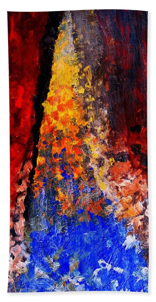 Abstract Hand Towel featuring the painting Falling by Ian MacDonald