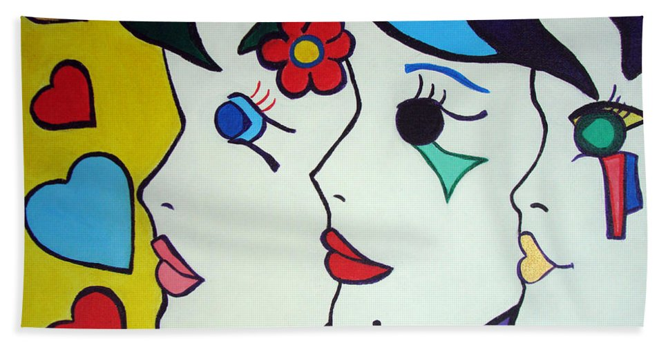 Pop-art Bath Sheet featuring the painting Falling In Love by Silvana Abel