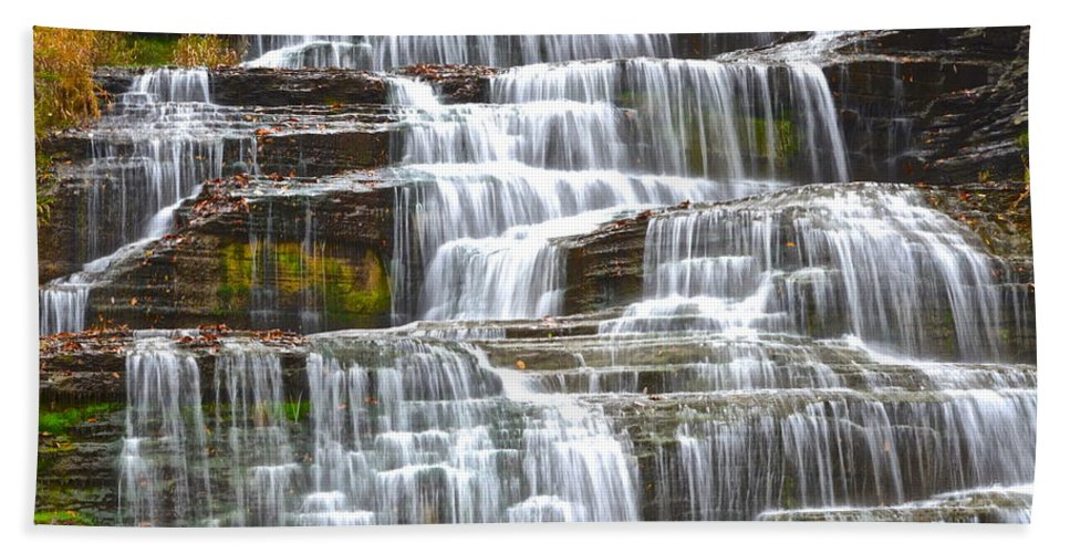 Falling Bath Sheet featuring the photograph Falling Water by Frozen in Time Fine Art Photography