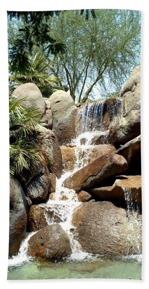 Barbara Snyder Bath Sheet featuring the digital art Falls At Jackalope Ranch 2 by Barbara Snyder